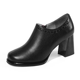 Bout Rond Talon Carrés Chaussures Oxford Noir Chaussures Travail Classique Shooties Cuir 2019