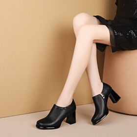 Leather Shooties 7 cm Mid Heels Patent 2019 Black Block Heels Classic Oxford Shoes