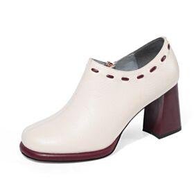 2019 Chaussures De Bureau Noir Chaussures Oxford Classique Bout Rond Talon Carrés Cuir Talon Mid