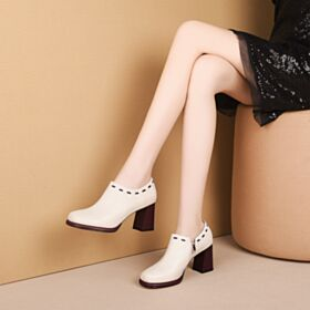 2019 Patent Block Heel Classic Black Mid Heel Round Toe Leather Oxford Shoes Office Shoes