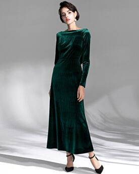 Vintage Simple Backless Velvet Fit And Flare Long Sleeve Dark Green Long Mother Of Bridal Dress Formal Evening Dress