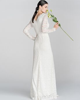 Sheath Long Low Cut Long Sleeves Elegant Bridals Wedding Dress Beach Reception Lace White