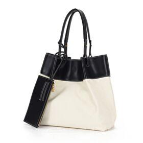 Tote Black And White Handbag Leather Large Simple Shoulder Bag 2020 Hobo