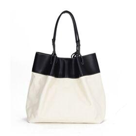 Blockfarben Ausgehen Umhängetasche Casual Tote Bag Leder Groß Schlichte Schwarz Weiß Hobo Tasche Tasche