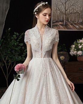 ロング レース Aライン ウェディングドレス ゴージャス エレガント 白い 深 v ネック 半袖 6720030397