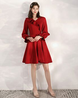 Wedding Party Dress Ruffle Semi Formal Dress Short Long Sleeves Satin 2020 Fit And Flare
