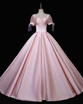 Color Rosa Vintage Largos Elegantes Sin Espalda Sencillos