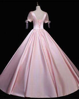 Rose Clair Dos Nu Longue Col Carré Satin Robe De Bal Princesse Simple