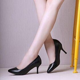 Tacones Altos Vestido Para Oficina De Suela Roja Stiletto Informales Sencillos Negros De Cuero Zapatos Tacones Clasico