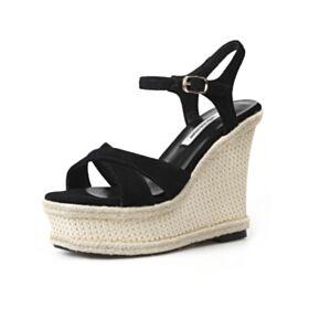 13 cm Chaussures Feemes Sandales Femme Compensées A Bride Plateforme Cuir Talon Haut Boheme Noir Simple