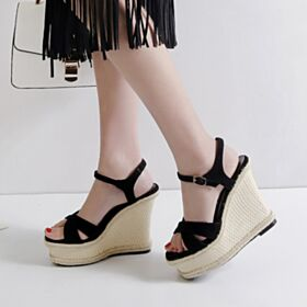 Strappy Bohemian Black Leather Wedges Sandals High Heel Espadrilles 5 inch Platform