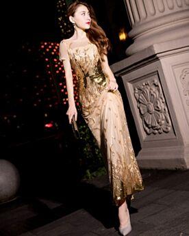 Koker Pailletten Enkellange Sparkle Avondjurken Kerst Jurk Elegante Gouden
