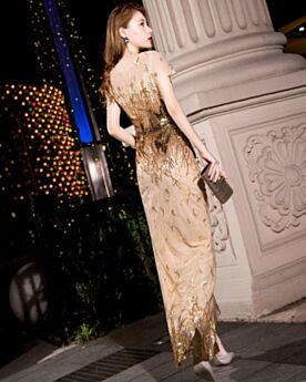 Elegante Silvester Kleid Gold Knöchellänge Rundhalsausschnitt Bleistift Pailletten Abendkleid