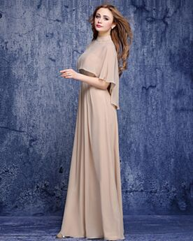 Half Sleeve Mother Of Bridal / Groom Dress Evening Dresses Beautiful Empire 2019 High Neck Wedding Guest Dresses Chiffon Modest Long