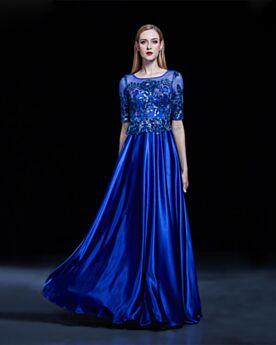 Dentelle Longue Princesse Élégant Robe De Soirée Bleu Electrique Robe Ceremonie