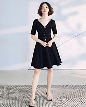 Fit And Flare Cocktail Dresses Open Back Black Knee Length