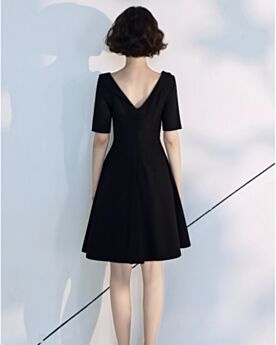 A La Rodilla Espalda Descubierta Vestidos Para Fiesta Escote V Verano Negros Vestidos Semi Formales
