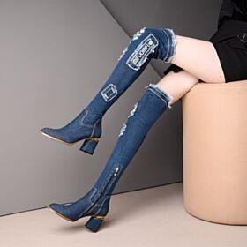 Hoge Laarzen Denim Blokhakken 7 cm Middelhoge Hakken Met Gaten Overknee Laarzen Damesschoenen