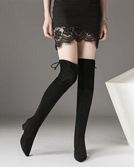 Thigh High Boots 6 cm Mid Heels Suede Black Sock Pointed Toe Tall Boot Block Heel Winter