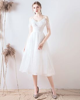 2020 V Neck Spaghetti Strap Simple Wedding Dress Fit And Flare White Ruffle Open Back