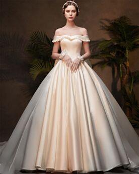 Lange Open Rug Korte Mouwen Met Strik Vintage Off Shoulder Met Volant Creme Satijnen Aangepaste Elegante Bruidsjurken