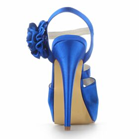 Stiletto Peep Toe Koningsblauwe 13 cm High Heels Satijnen Mooie Sandalen Strappy