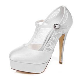 ハイヒール 結婚 式 靴 サテン ピンヒール 2020 ハイヒール ホワイト ヒール エレガント ラウンド トゥ 厚底 パンプス 6820310723S