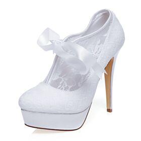 Con Plataforma Elegantes Satin Stiletto Tacones Altos 13 cm Zapatos Para Novia De Encaje Blanco Zapatos Mujer