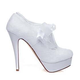 Platform Wedding Shoes Satin Stilettos Elegant Lace White Pumps Dress Shoes 5 inch High Heel