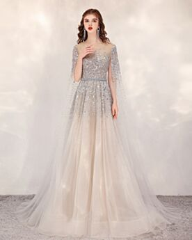 Champagne Beading Sequin See Through Sparkly Formal Dresses Cute A Line Gorgeous Tulle Prom Dress