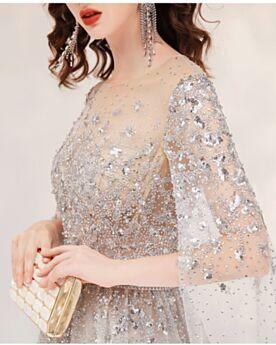 Manche Longue Chic Sequin Perlage Champagne Transparente Robes De Bal Longue