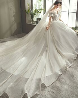 Luxe Off Shoulder Bruidsjurken Korte Mouwen Open Rug Glitter
