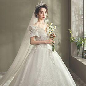Luxe Epaule Dénudée Robe De Mariée Manche Courte Dos Nu Glitter