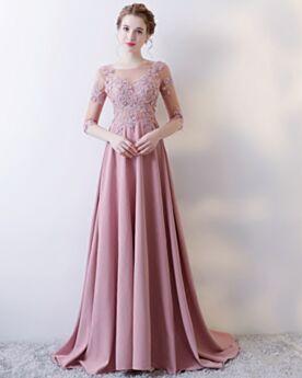 Long Mauve Princess Beading Formal Evening Dress With Train Half Sleeve Elegant Satin