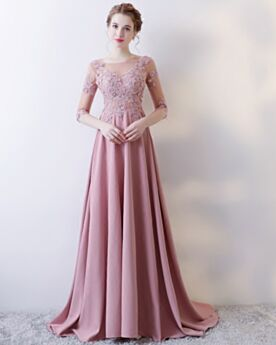 Mauve Applique Avondjurken Halve Mouw Satijnen Jurken Voor Bruiloft Gast Bruidsmeiden Jurken A Lijn Met Staart Open Rug