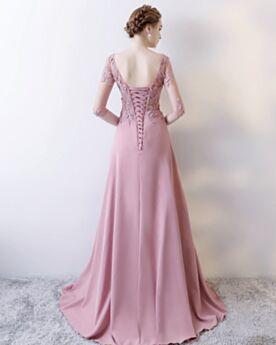 Elegante Rückenfreies Perlen Halbe Ärmel Trauzeugin Kleid Kleider Hochzeitsgäste Mauve Applikationen Abendkleid