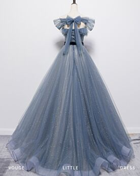 Backless Sleeveless Glitter Formal Evening Dresses Square Neck With Bow Sparkly Dark Blue Beautiful Long