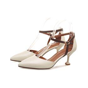 Knöchelriemen Weiß Shaped Mit Absatz Spitz Zeh Sandaletten Sommer Stilettos