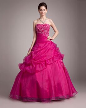 Strapless Spring Quinceanera Dress Open Back Organza Prom Dresses Vintage Ball Gowns Hot Pink
