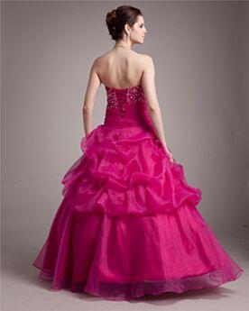 Vestidos De Fiesta Para Prom Apliques Vestidos De 15 Años Espalda Abierta Corte Princesa Volantes Largos Sin Manga Fucsia