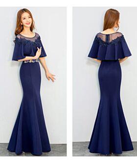 Abendkleid Kleider Hochzeitsgäste Rüschen Applikationen Halbe Ärmel Elegante Schößchen Meerjungfrau