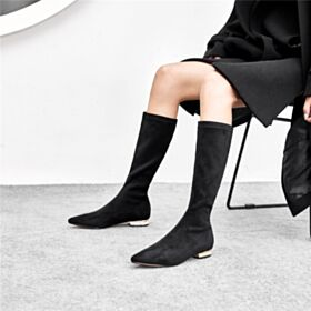 2018 Mid Calf Boots Stretch Boots Flats Leather Pointed Toe