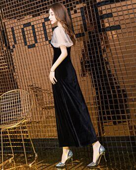 Short Sleeve Ankle Length Cocktail Dress Semi Formal Dresses Elegant Plunge Dress For Wedding Simple Straight Velvet Teens