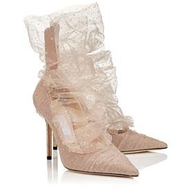En Punta Fina Tul Tacones Altos 8 cm Stiletto Zapatos Brillantes Nude