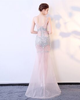 Red Carpet Dresses Mermaid Sparkly Backless Sleeveless Formal Evening Dresses Sequin Low Cut Club Dress See Through Long Tulle