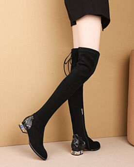 Over The Knee Pointed Toe 3 cm / 1 inch Low Heel Thick Heel Black Sock Crystal Leather Boots Suede
