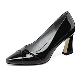 High Heels Leather Black Chunky Heel Office Shoes Fashion Pumps