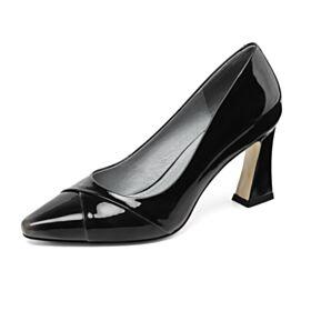 Tacon Ancho Casuales Trabajo Zapatos Mujer De Charol Negros Modernos Tacon Alto Piel