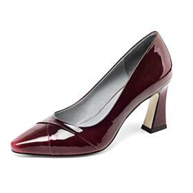 Escarpins Femmes Chaussures De Bureau Talon Carrés Talons Hauts Bordeaux