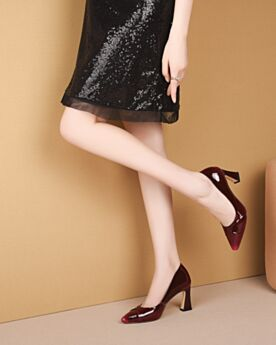 Patent Office Shoes Leather Shoes For Women 3 inch High Heel Burgundy Pumps Modern